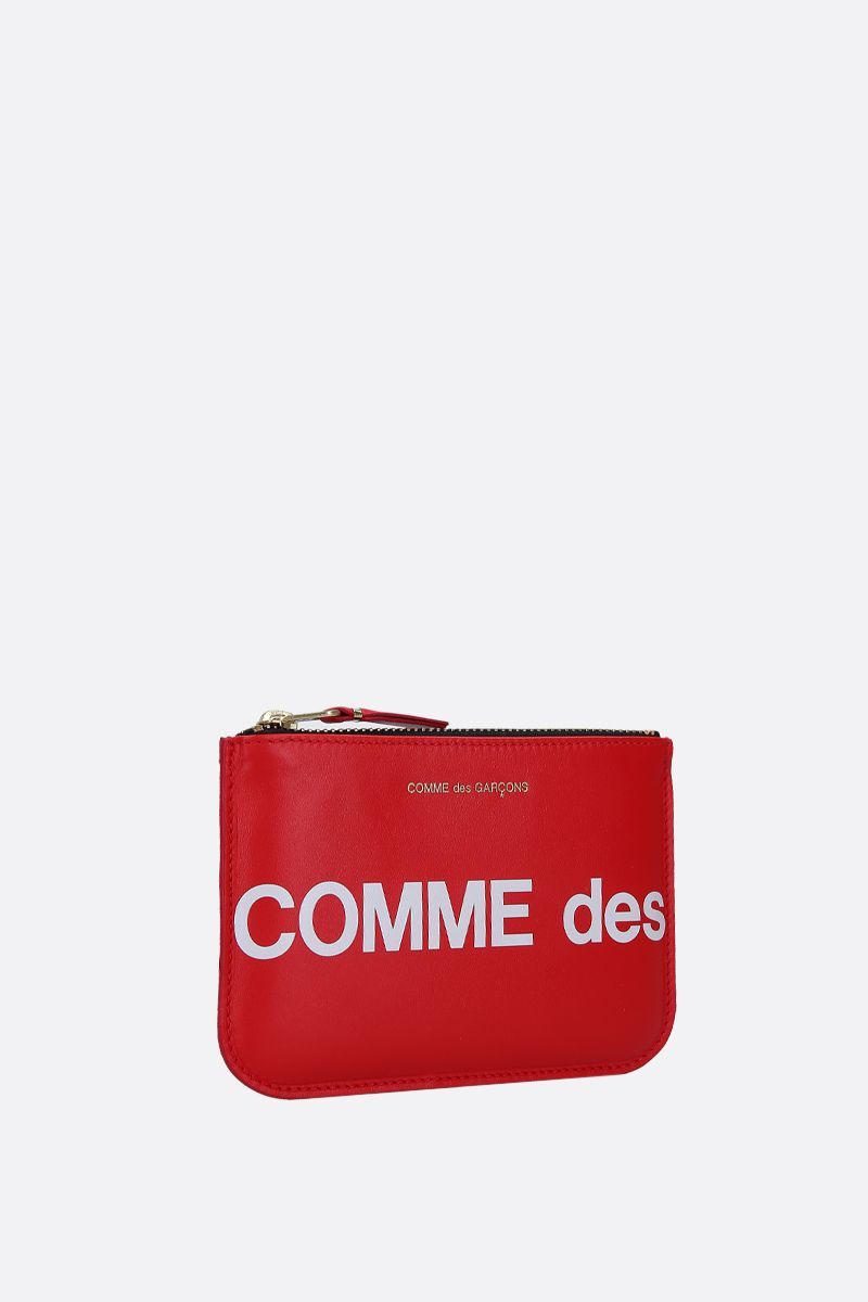 COMME des GARCONS WALLET: logo print smooth leather small pouch Color Red_2