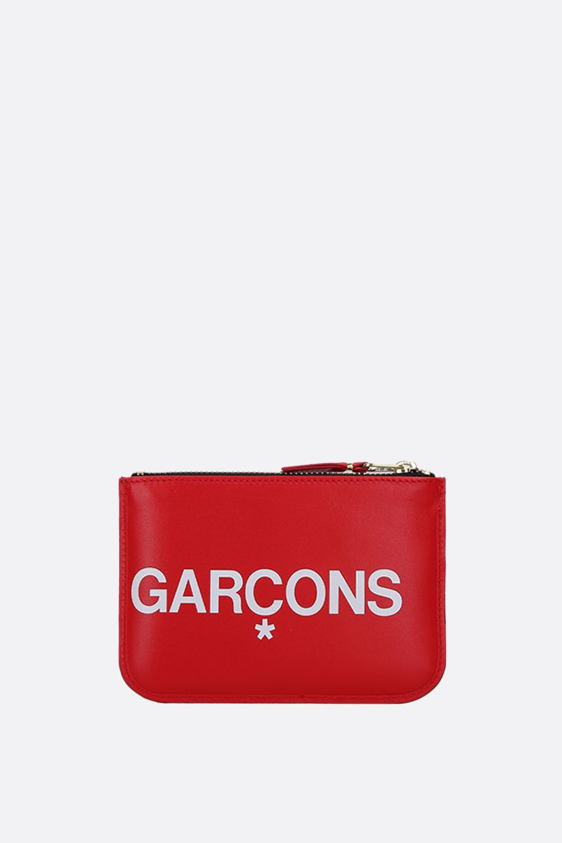 COMME des GARCONS WALLET: logo print smooth leather small pouch Color Red_3