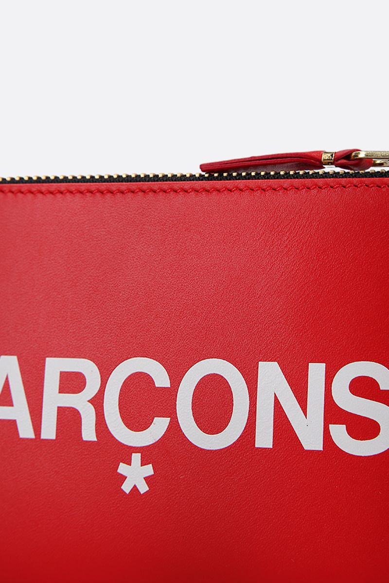COMME des GARCONS WALLET: logo print smooth leather small pouch Color Red_4