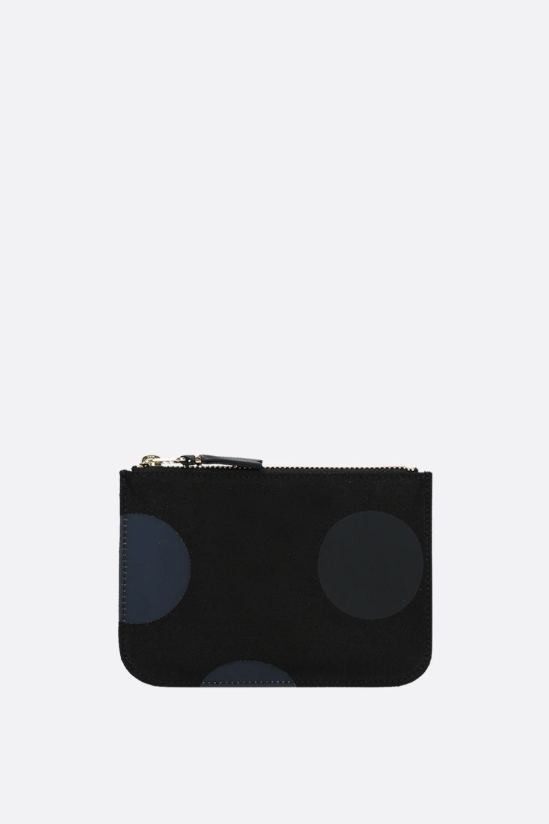 COMME des GARCONS WALLET: polka-dot canvas small pouch Color Black_1