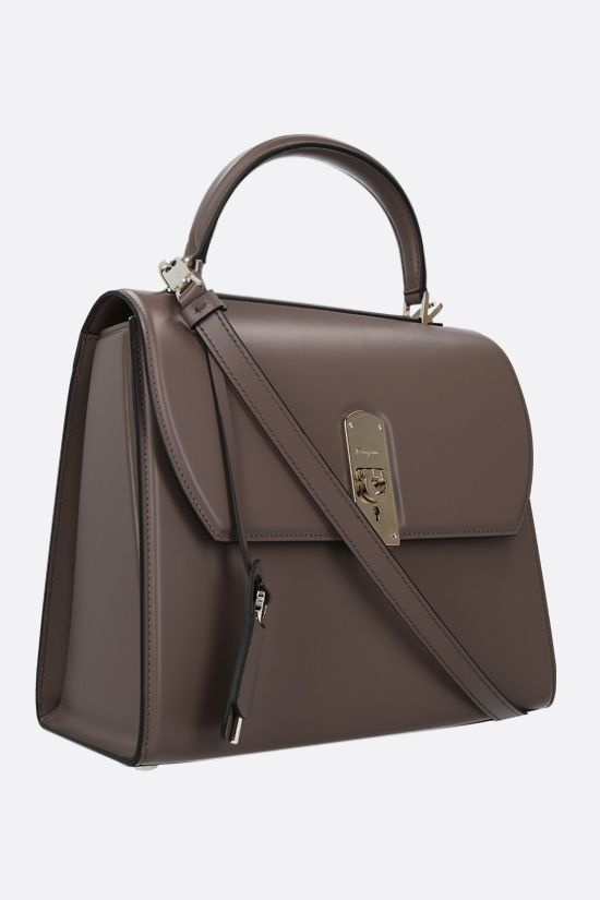 SALVATORE FERRAGAMO: Boxyz large smooth leather handbag Color Brown_2
