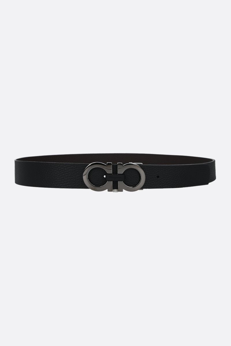 SALVATORE FERRAGAMO: Gancini grainy leather reversible belt_1