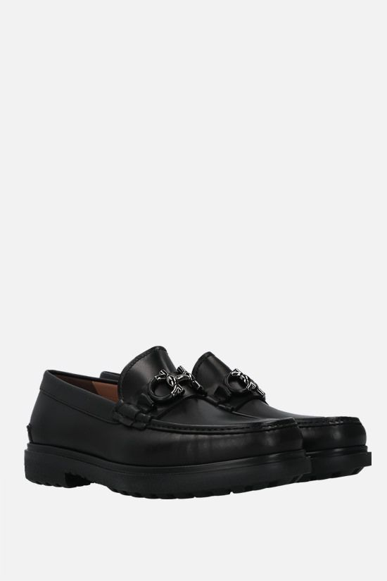 SALVATORE FERRAGAMO: Ready smooth leather loafers Color Black_2