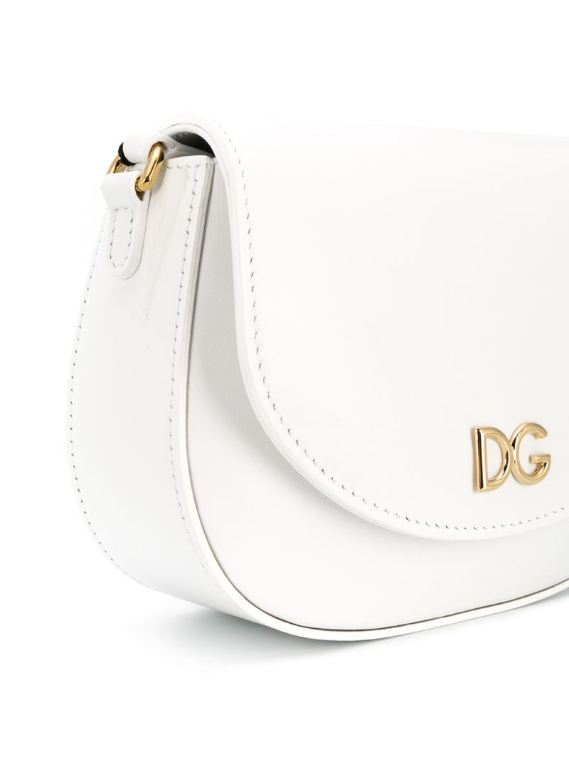 DOLCE & GABBANA CHILDREN: DG-detailed smooth leather shoulder bag Color White_2
