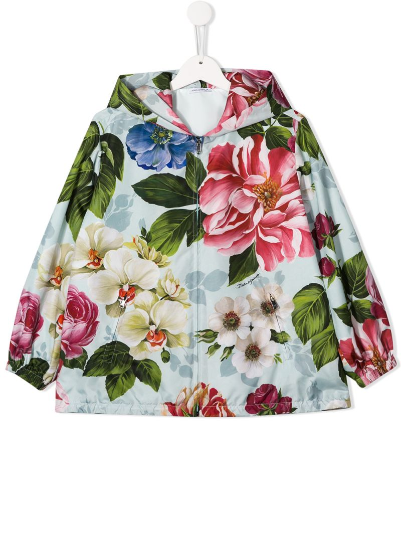 DOLCE & GABBANA CHILDREN: floral printed nylon full-zip jacket_1