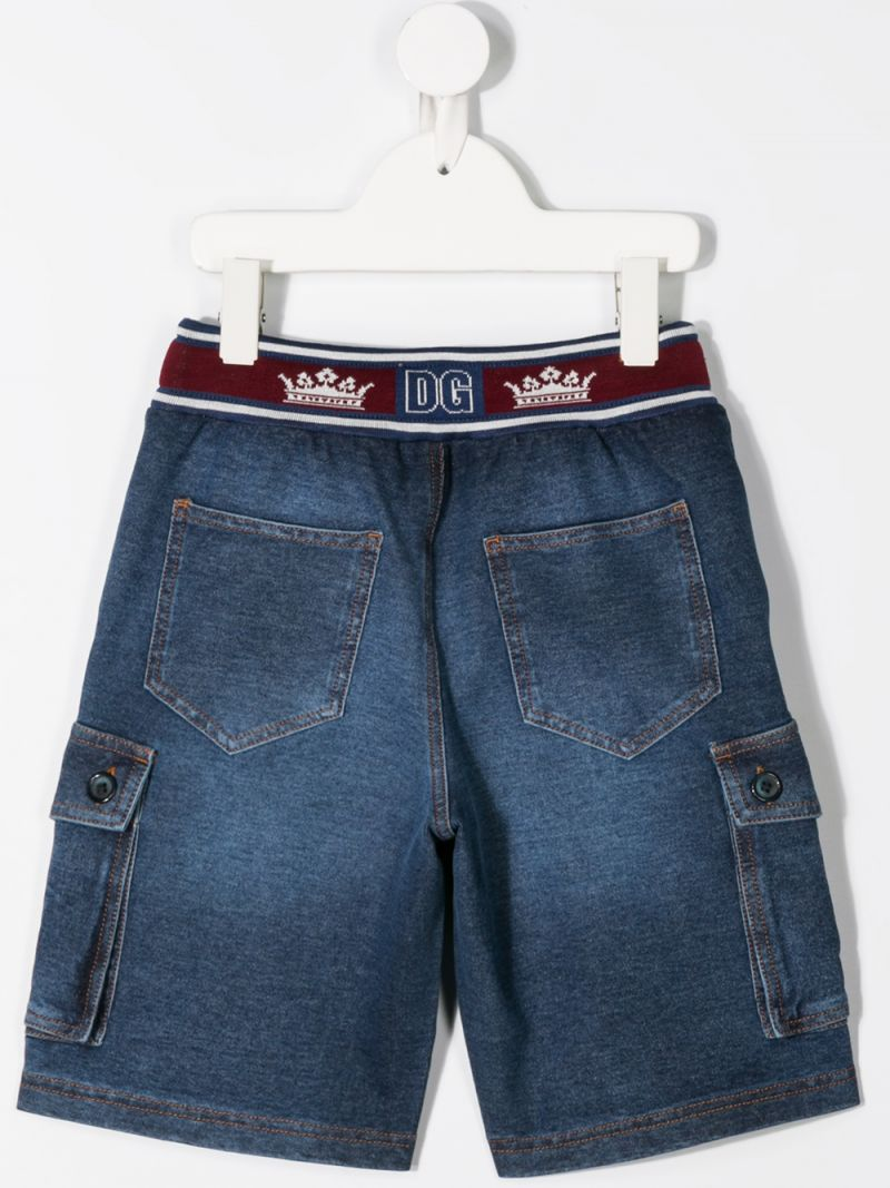 DOLCE & GABBANA CHILDREN: stretch denim cargo shorts Color Blue_2