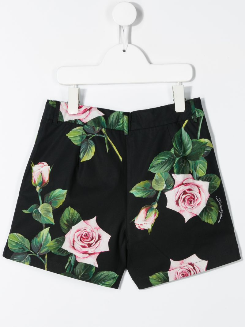 DOLCE & GABBANA CHILDREN: pantalone corto in cotone stampa Tropical Rose_2