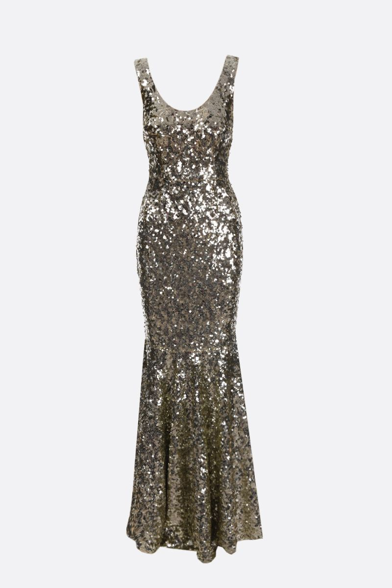 DOLCE & GABBANA: sequinned fishtail dress Color Gold_1