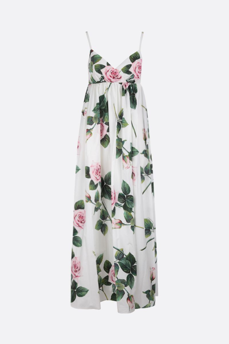 DOLCE & GABBANA: Tropical Rose print poplin maxi dress_1