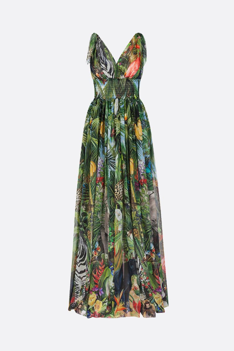 DOLCE & GABBANA: Jungle print silk long dress Color Green_1