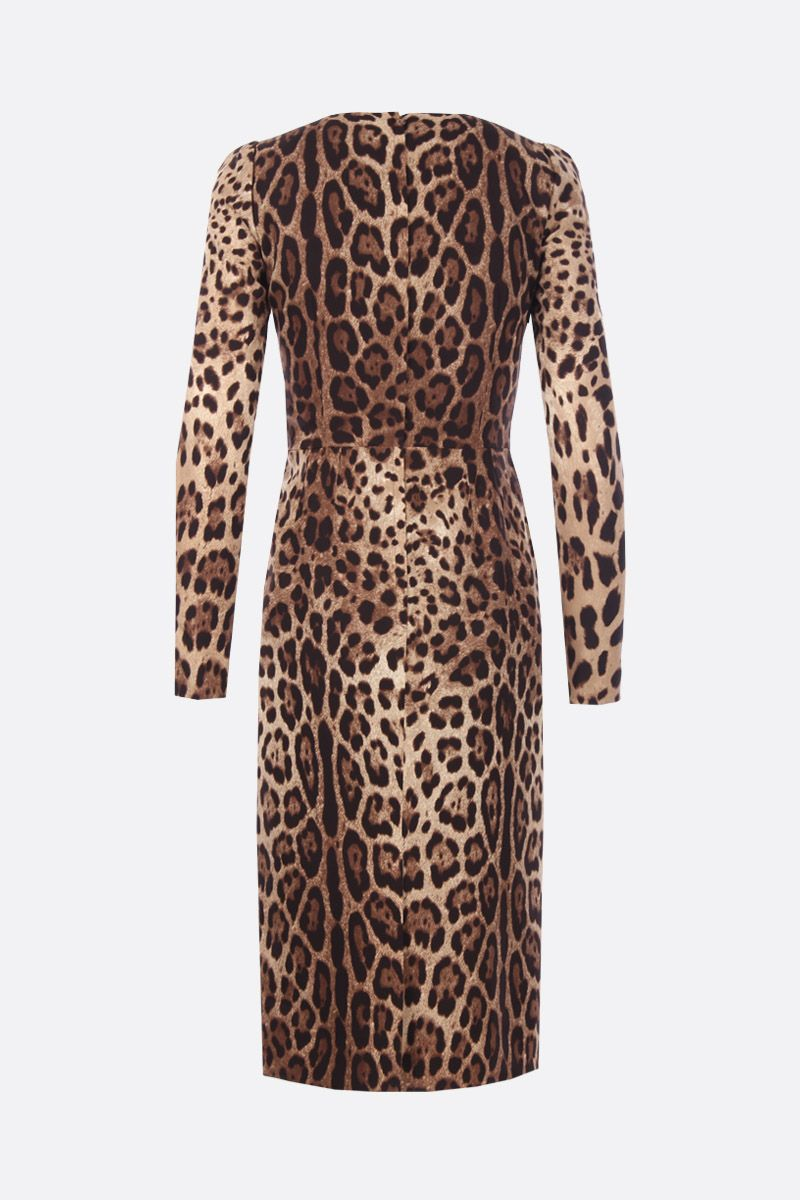 DOLCE & GABBANA: leopard print chearmeuse midi dress Color Animalier_2