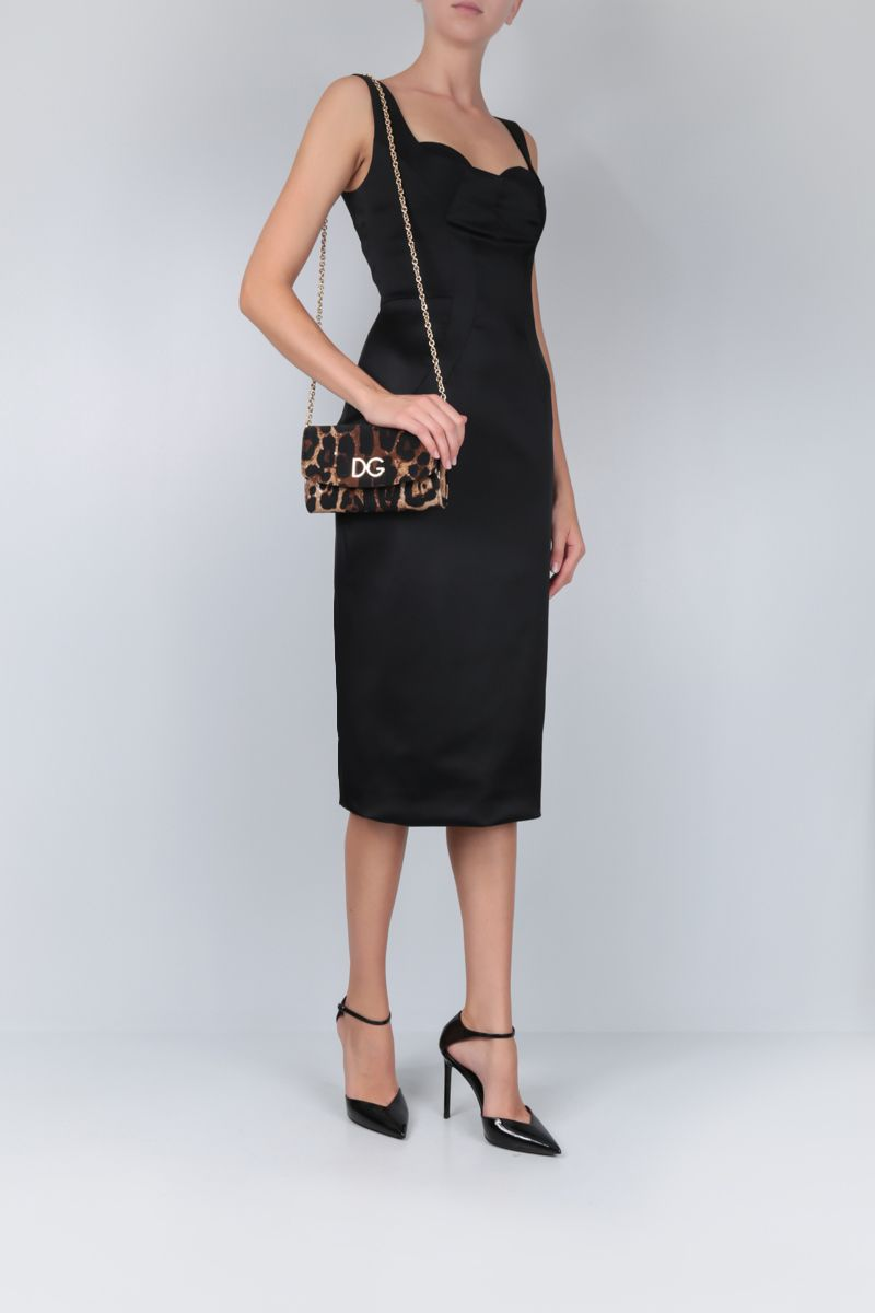 DOLCE & GABBANA: stretch satin midi dress Color Black_2