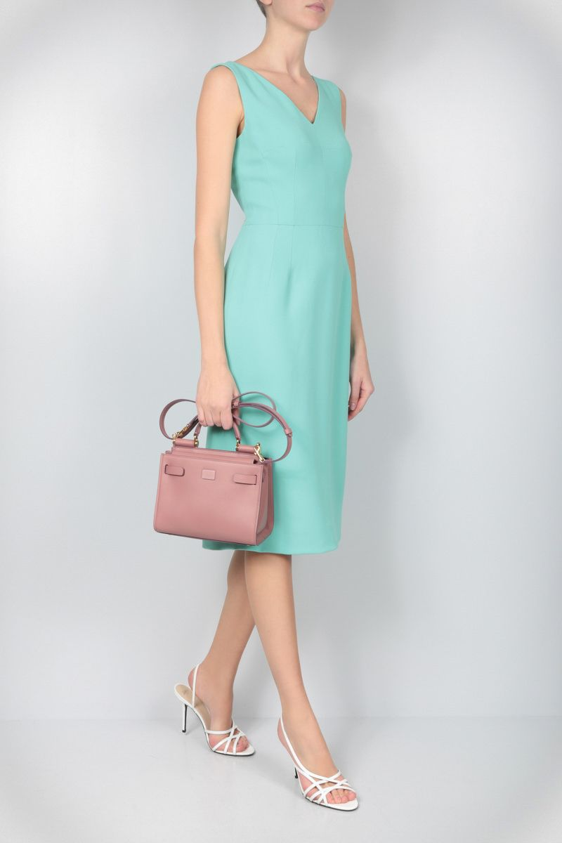 DOLCE & GABBANA: stretch cady midi dress Color Green_2