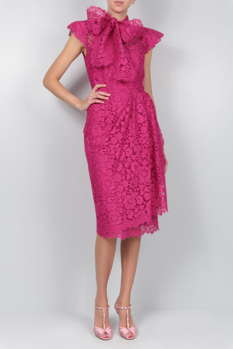 DOLCE & GABBANA: Cordonetto lace midi dress Color Pink_2