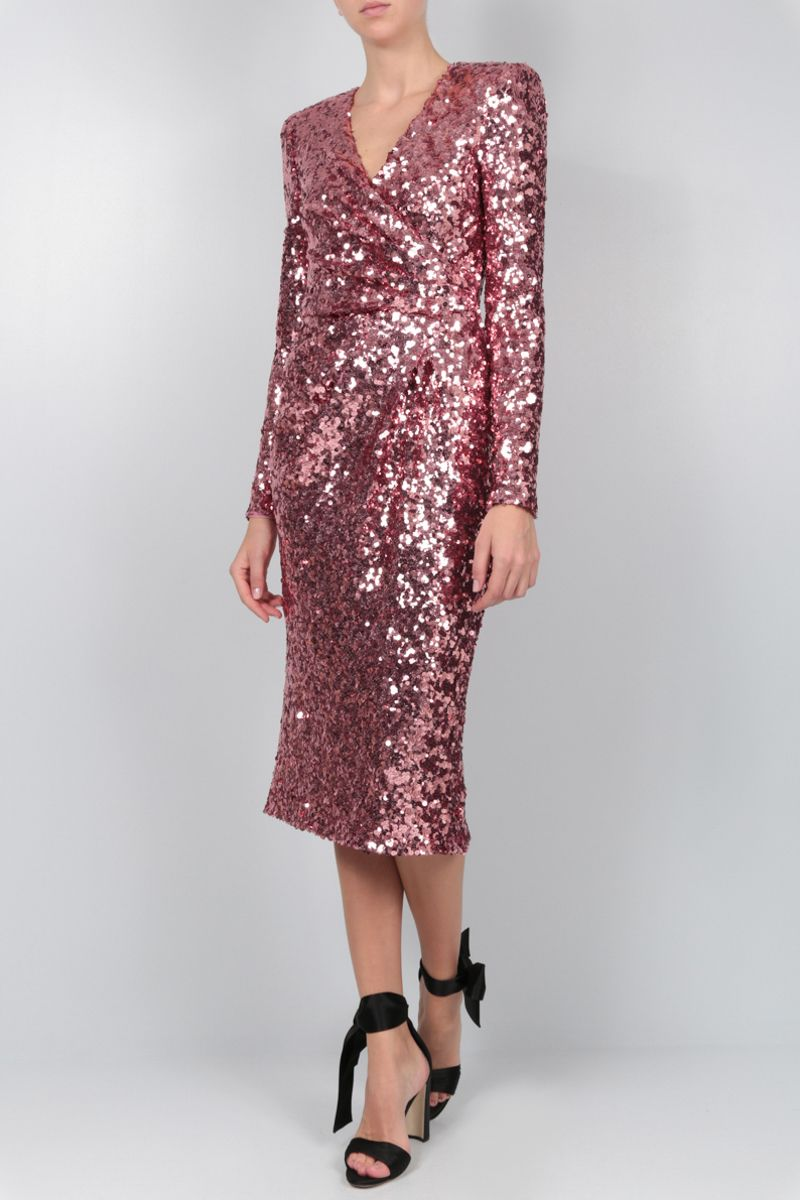 DOLCE & GABBANA: sequinned longuette dress Color Pink_2