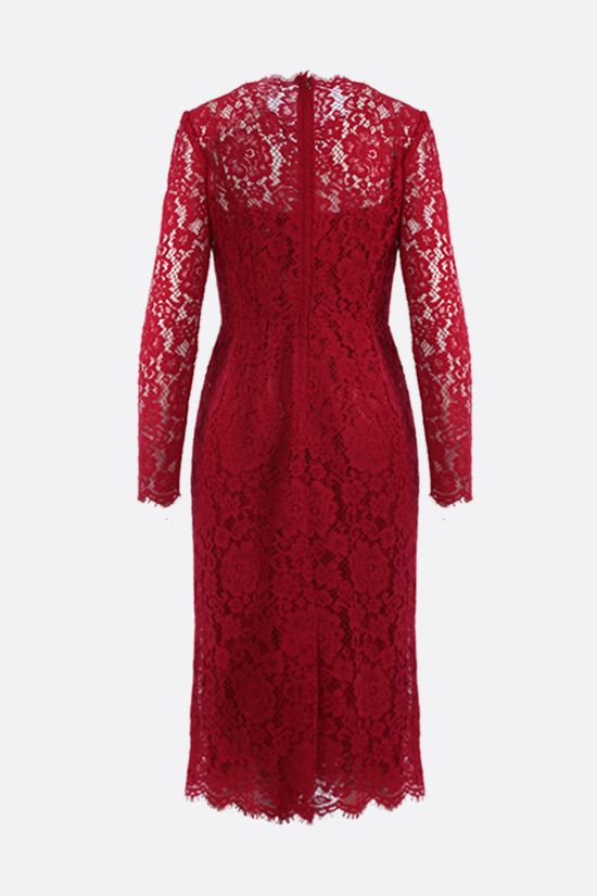 DOLCE & GABBANA: floral lace pencil dress Color Red_2