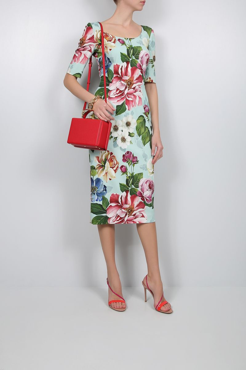 DOLCE & GABBANA: floral print stretch cady midi dress_2