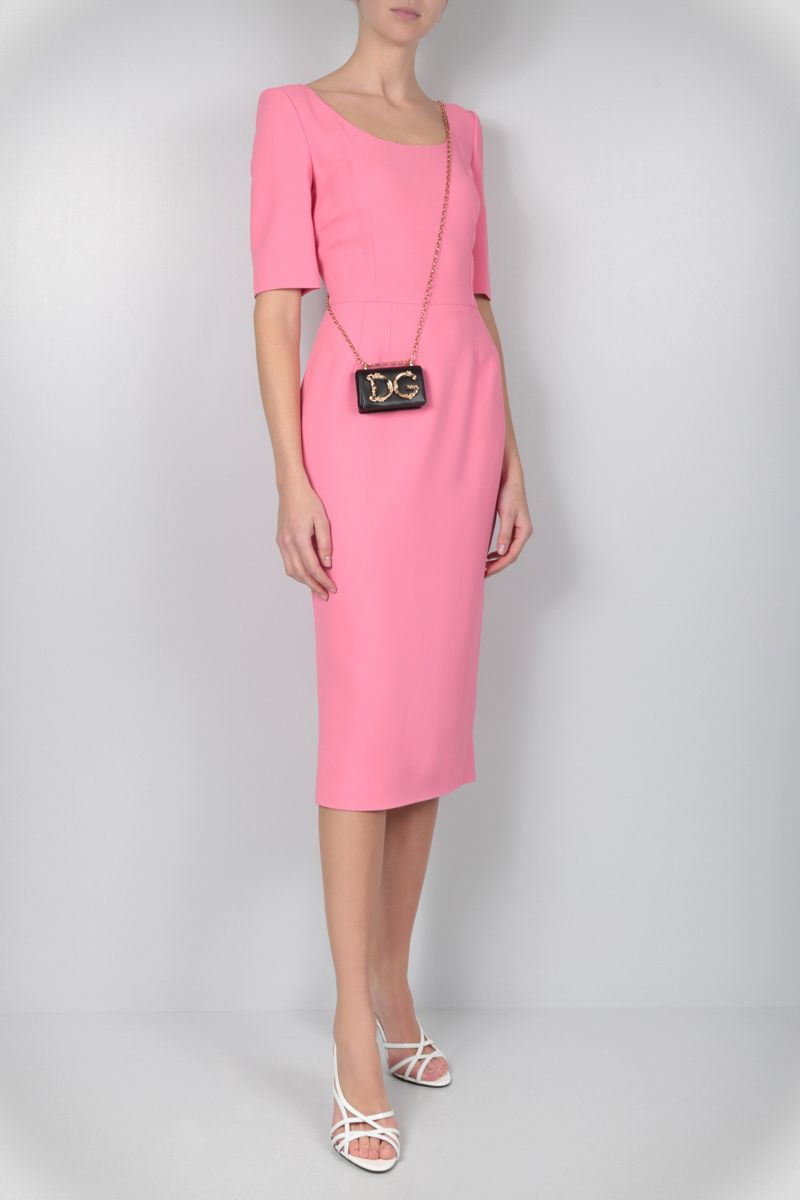 DOLCE & GABBANA: stretch cady midi dress Color Pink_2