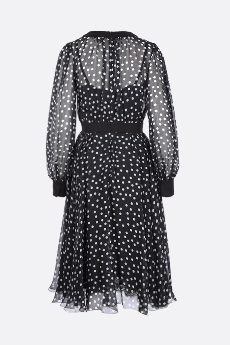 DOLCE & GABBANA: polka-dot silk chiffon midi dress Color Black_2