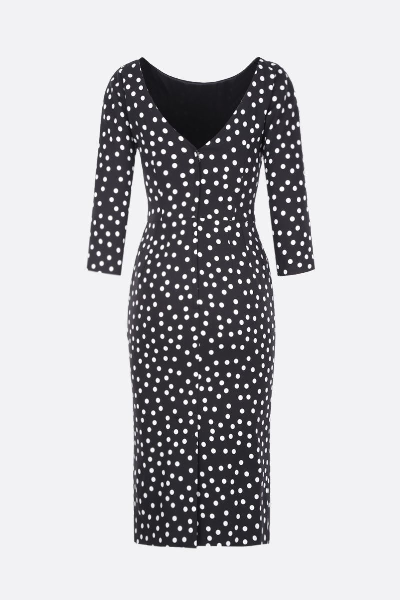 DOLCE & GABBANA: polka-dot cady midi dress Color Black_2