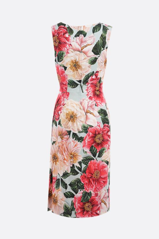 DOLCE & GABBANA: Camellia print stretch cady sleeveless dress Color Pink_2