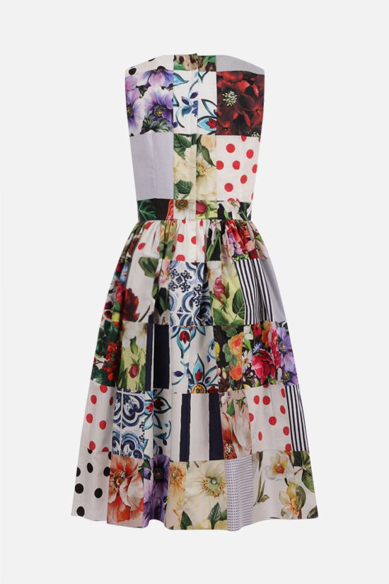 DOLCE & GABBANA: cotton patchwork sleeveless dress Color Multicolor_2