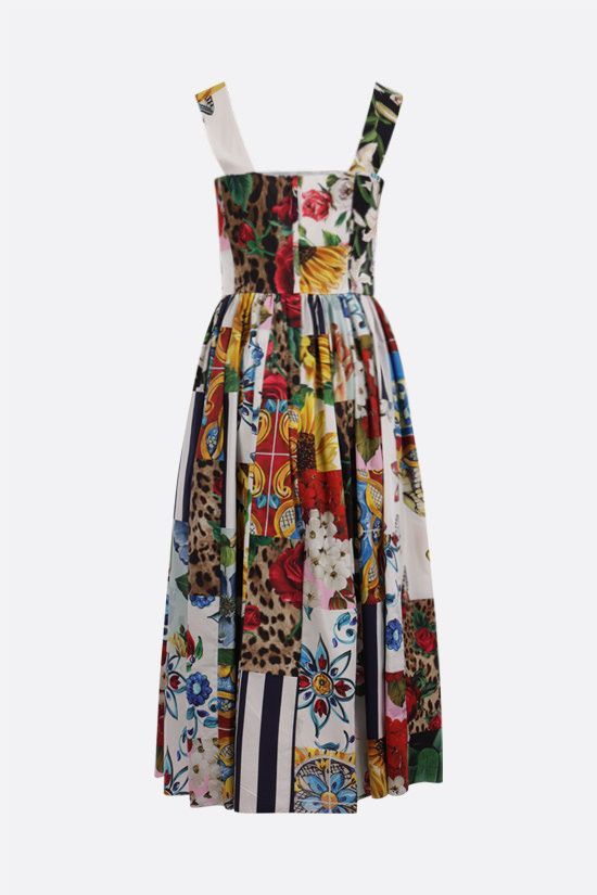 DOLCE & GABBANA: patchwork print cotton midi dress Color Multicolor_2