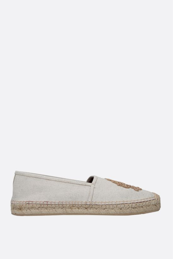 DOLCE & GABBANA: coat of arms patch canvas espadrilles Color Neutral_1