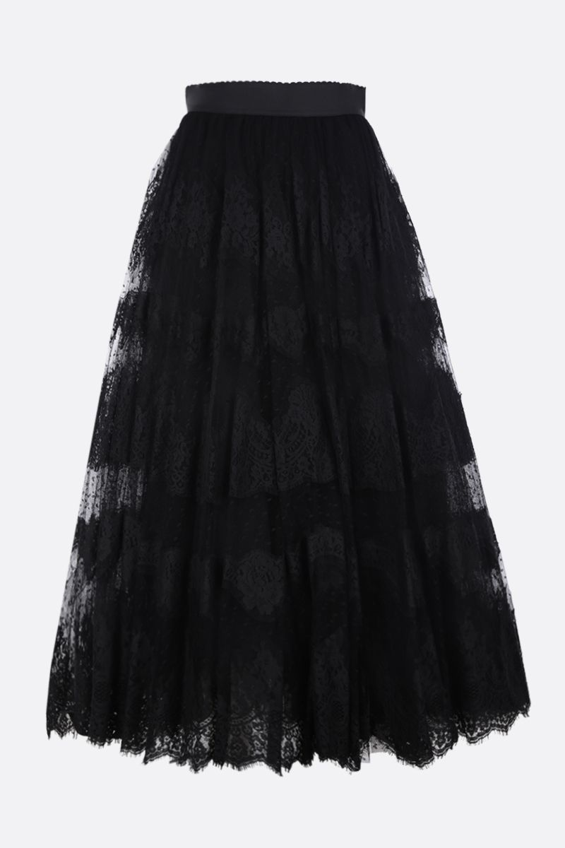 DOLCE & GABBANA: lace plumetis long skirt Color Black_1