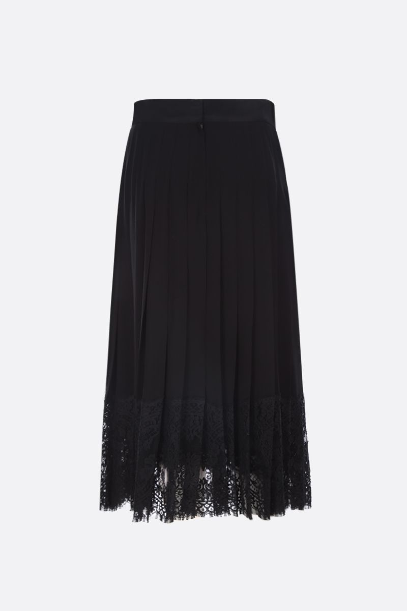 DOLCE & GABBANA: georgette pleated skirt with lace inserts Color Black_2