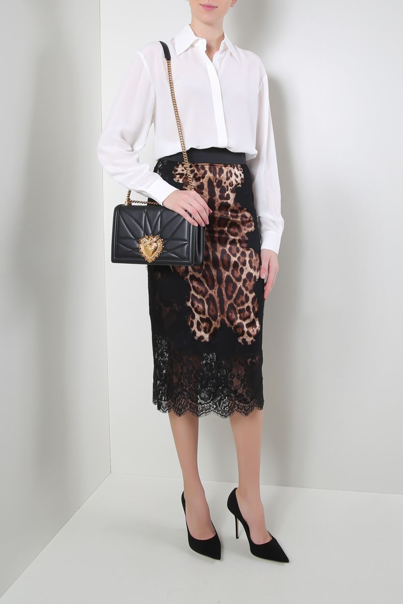 DOLCE & GABBANA: leo print silk pencil skirt with lace inserts Color Animalier_2