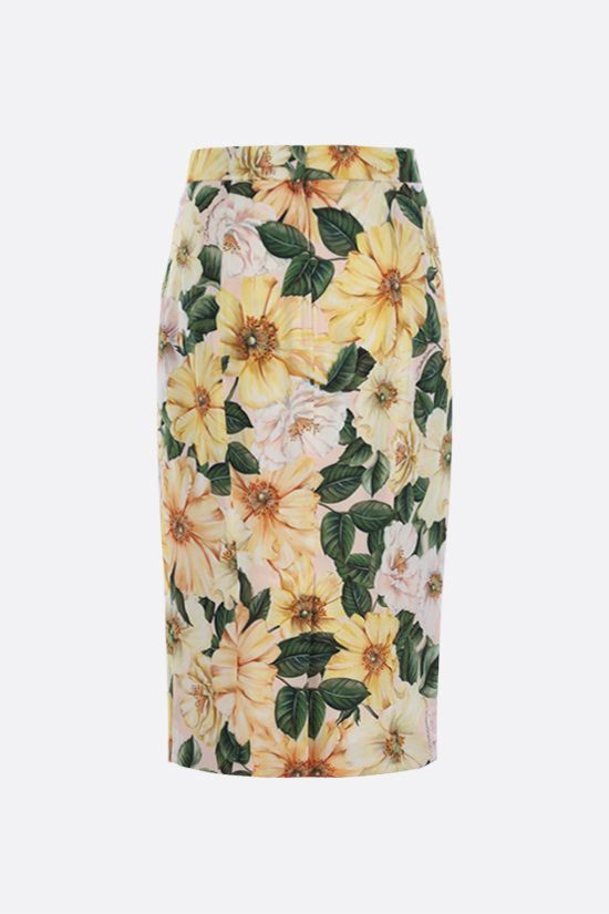 DOLCE & GABBANA: Camellia print stretch silk pencil skirt Color Pink_2