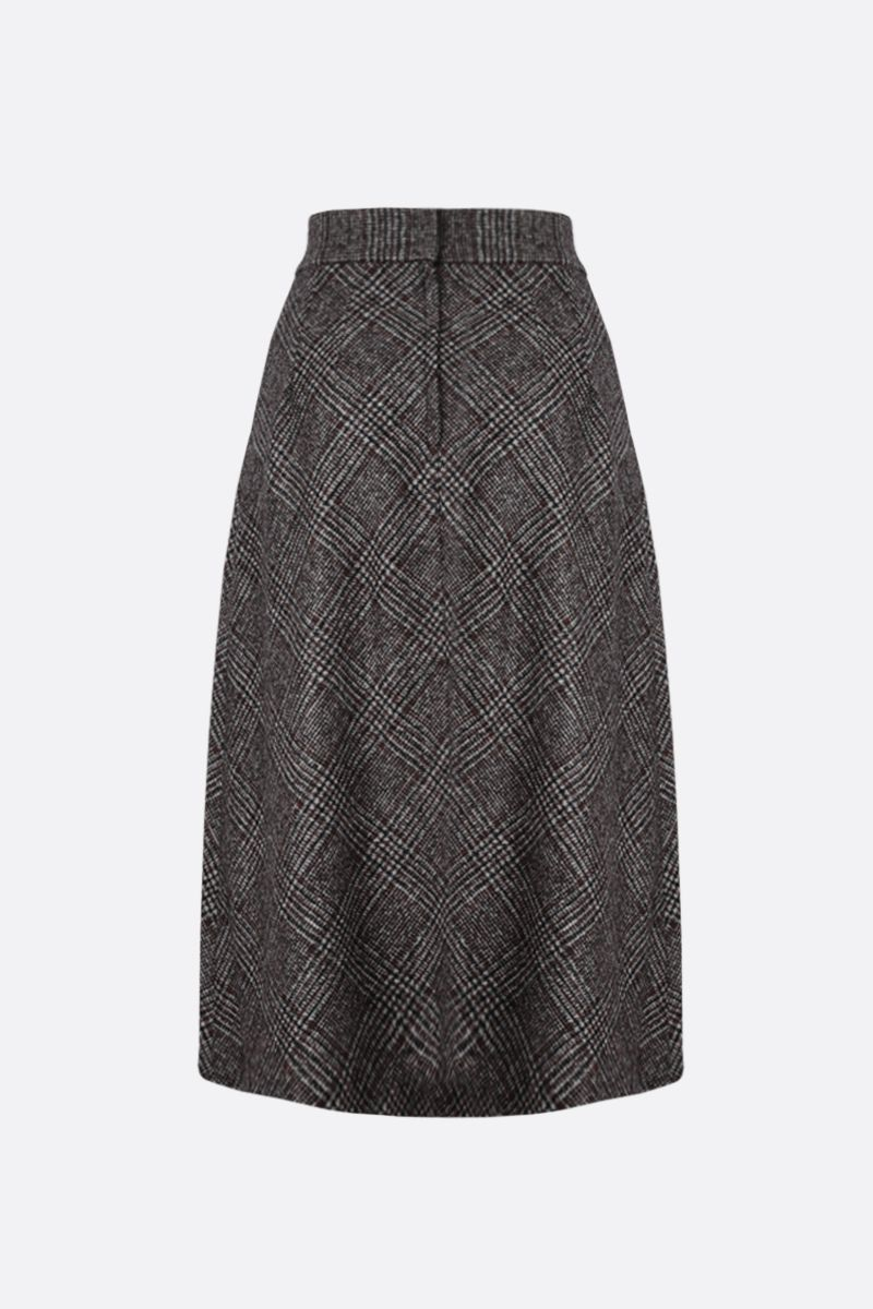 DOLCE & GABBANA: prince of Wales-motif wool blend A-line skirt Color Grey_2