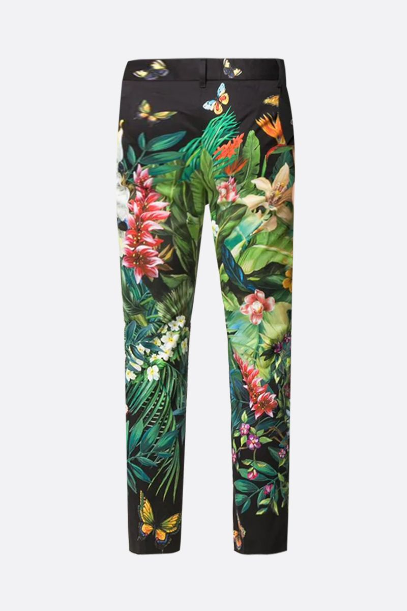 DOLCE & GABBANA: Jungle printed stretch cotton cropped pants Color Black_2