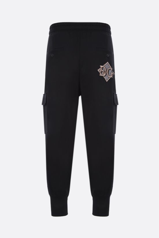 DOLCE & GABBANA: DG patch cotton cargo joggers Color Black_2