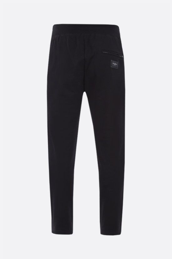 DOLCE & GABBANA: logo plaque-detailed cotton joggers Color Black_2