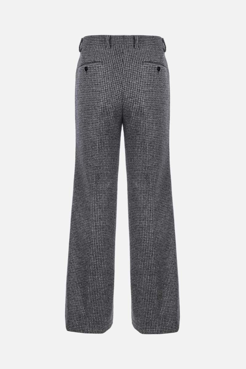 DOLCE & GABBANA: check wool alpaca blend darted pants Color Grey_2