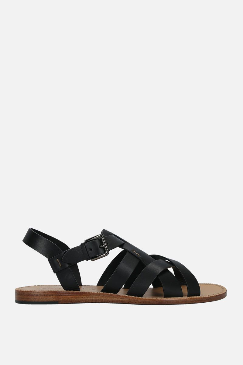 DOLCE & GABBANA: Pantheon smooth leather gladiator sandals Color Black_1