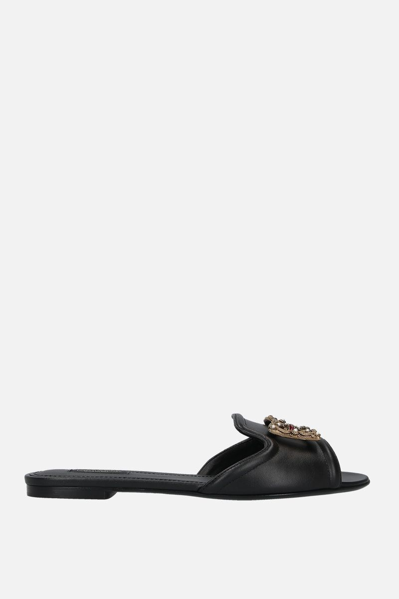 DOLCE & GABBANA: Baroque DG logo-detailed leather slide sandals Color Black_1