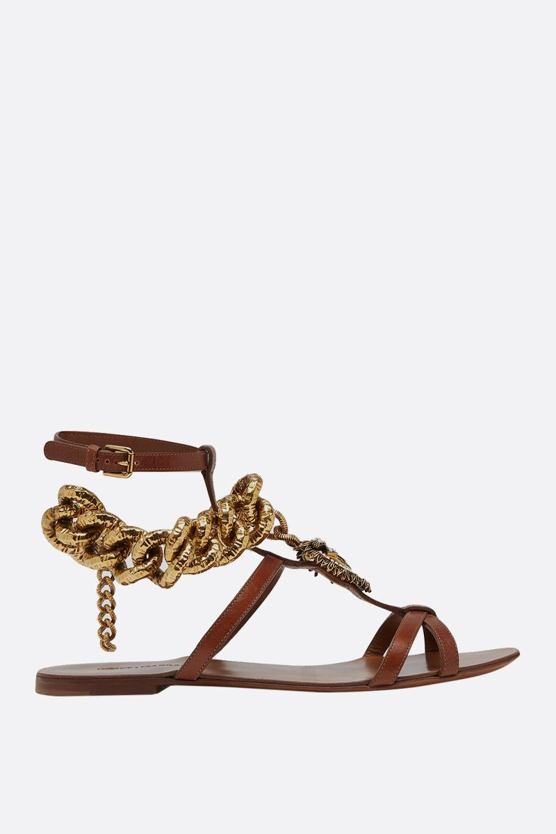 DOLCE & GABBANA: Devotion flat sandals in shiny leather Color Neutral_1