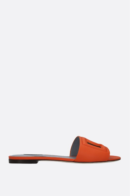 DOLCE & GABBANA: Tahiti smooth leather slide sandals Color Orange_1