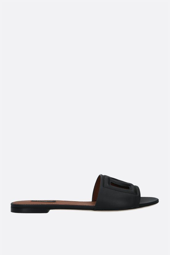 DOLCE & GABBANA: Tahiti smooth leather slide sandals Color Black_1