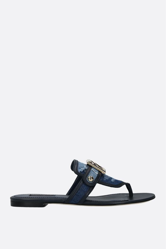 DOLCE & GABBANA: denim and smooth leather thong sandals Color Blue_1