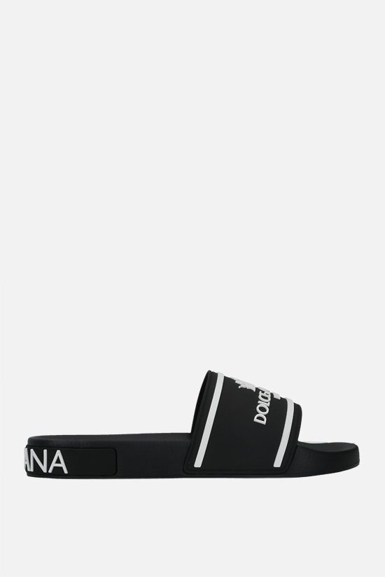 DOLCE & GABBANA: logo-detailed rubber slide sandals Color Black_1