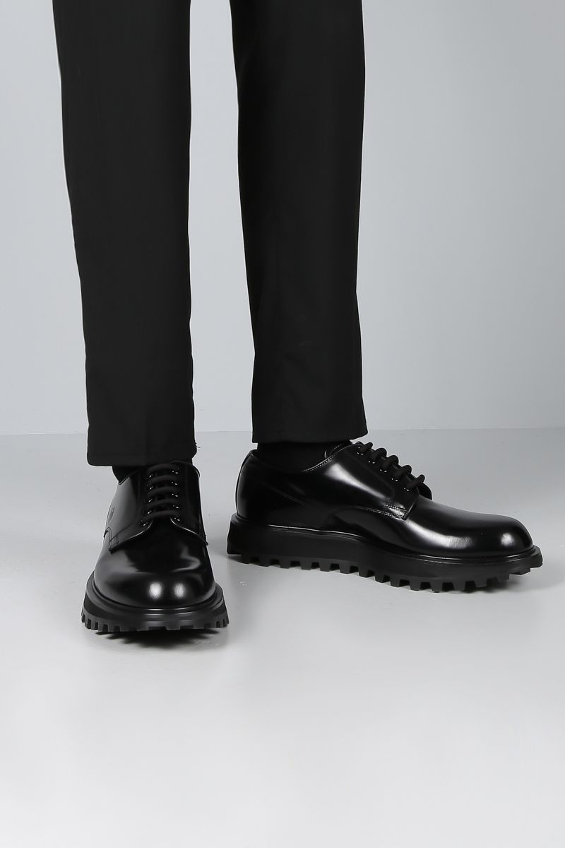 DOLCE & GABBANA: Naxos derby shoes in shiny leather Color Black_2
