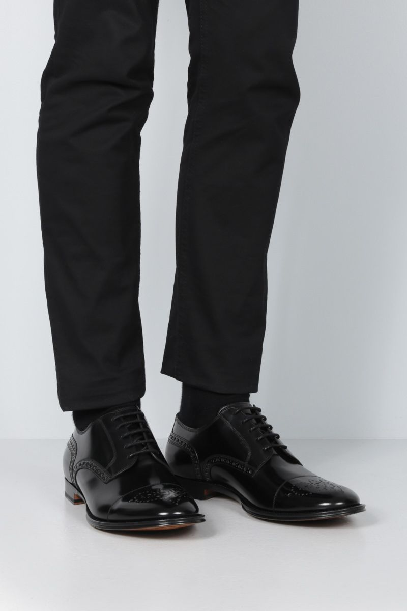 DOLCE & GABBANA: Marsala derby shoes in shiny leather Color Black_2