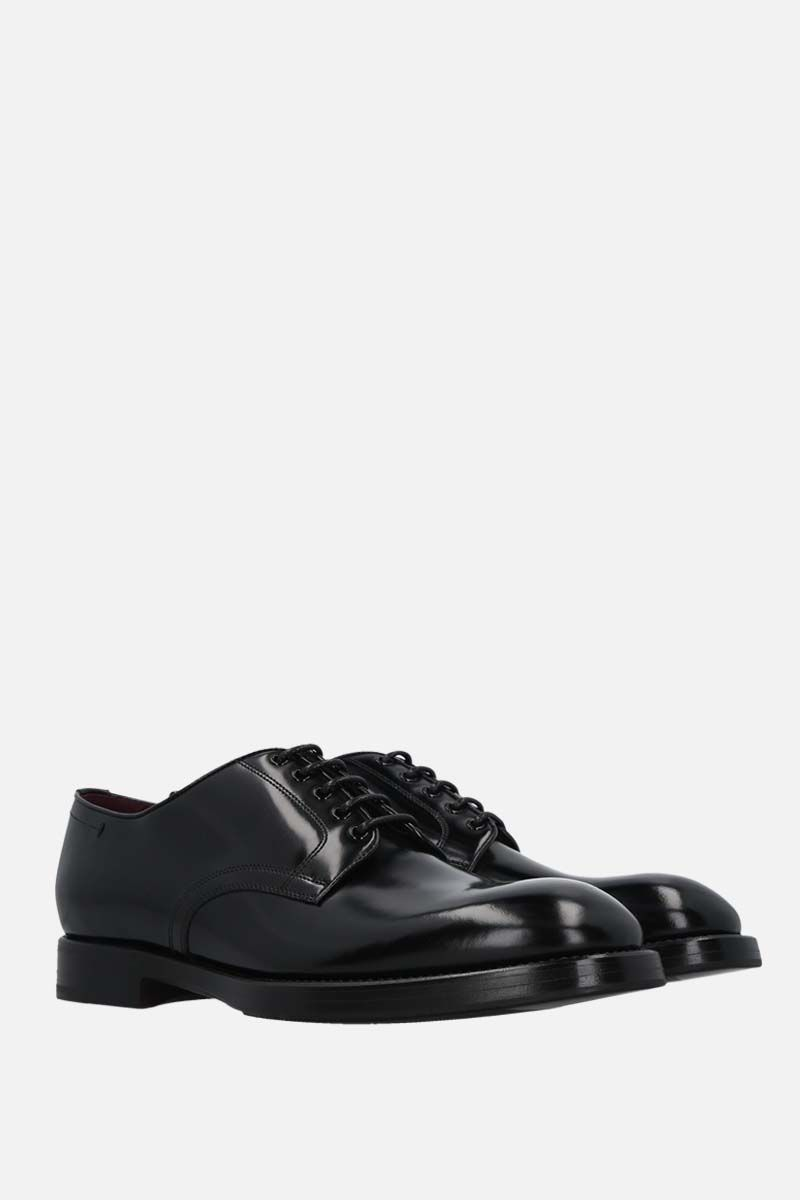 DOLCE & GABBANA: Michelangelo brushed leather derby shoes Color Black_2