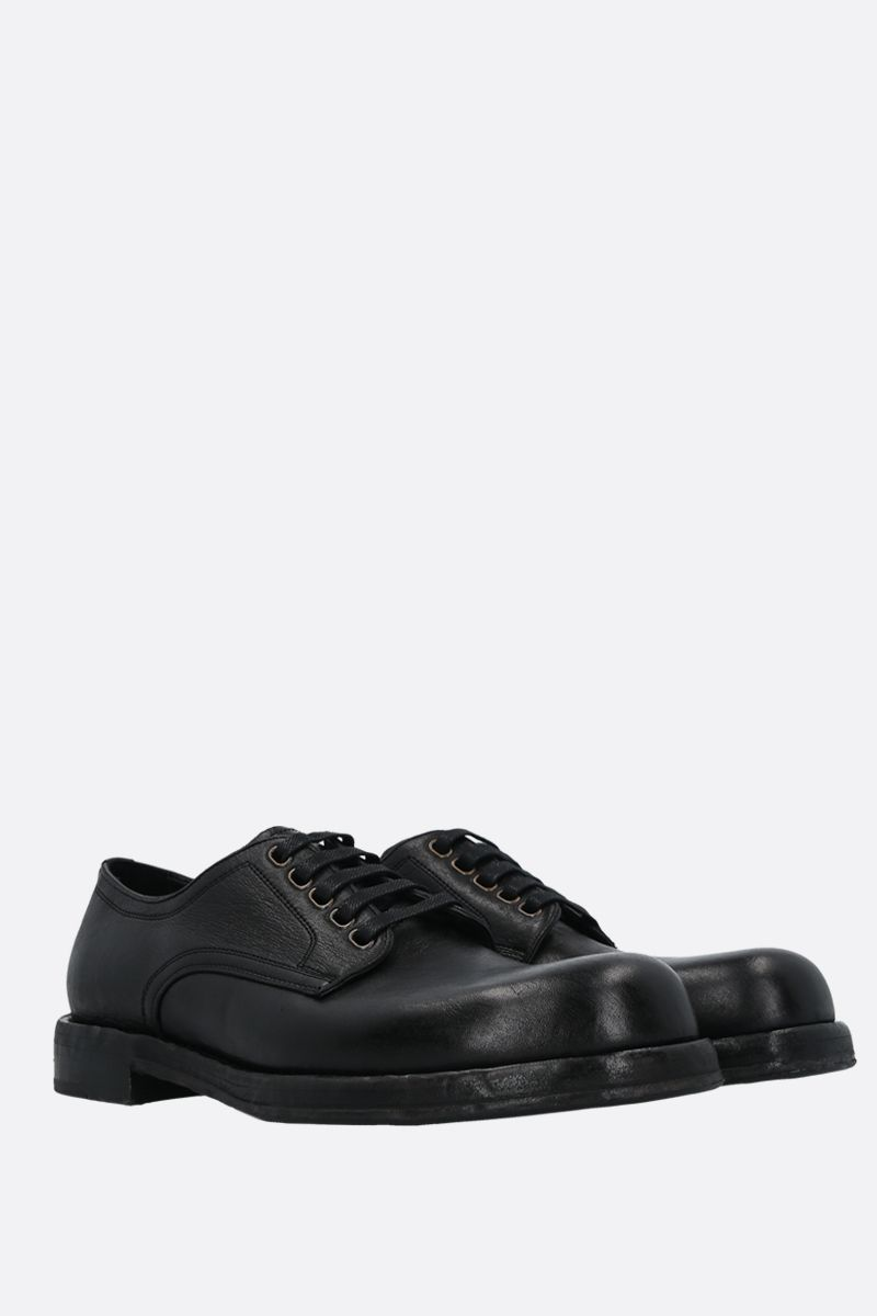DOLCE & GABBANA: Perugino textured leather derby shoes Color Black_2