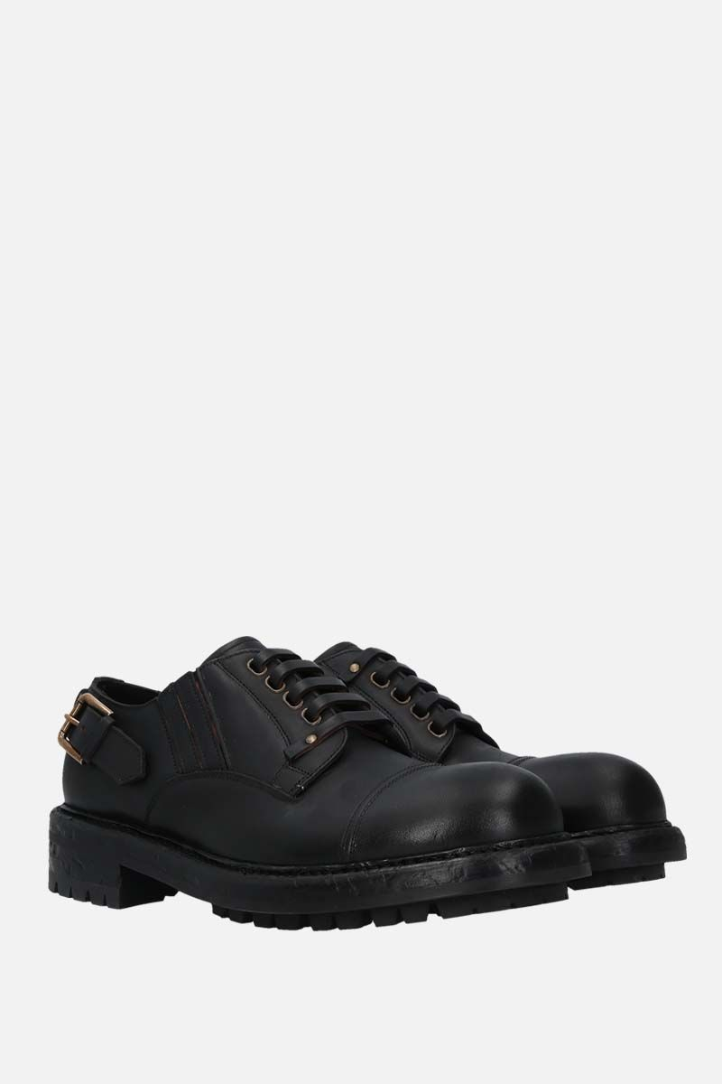 DOLCE & GABBANA: Bernini matte leather derby shoes Color Black_2