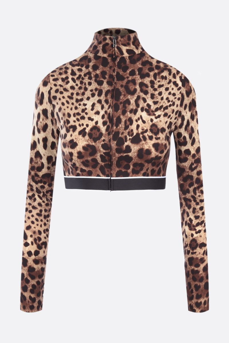 DOLCE & GABBANA: leopard print charmeuse cropped top Color Animalier_1